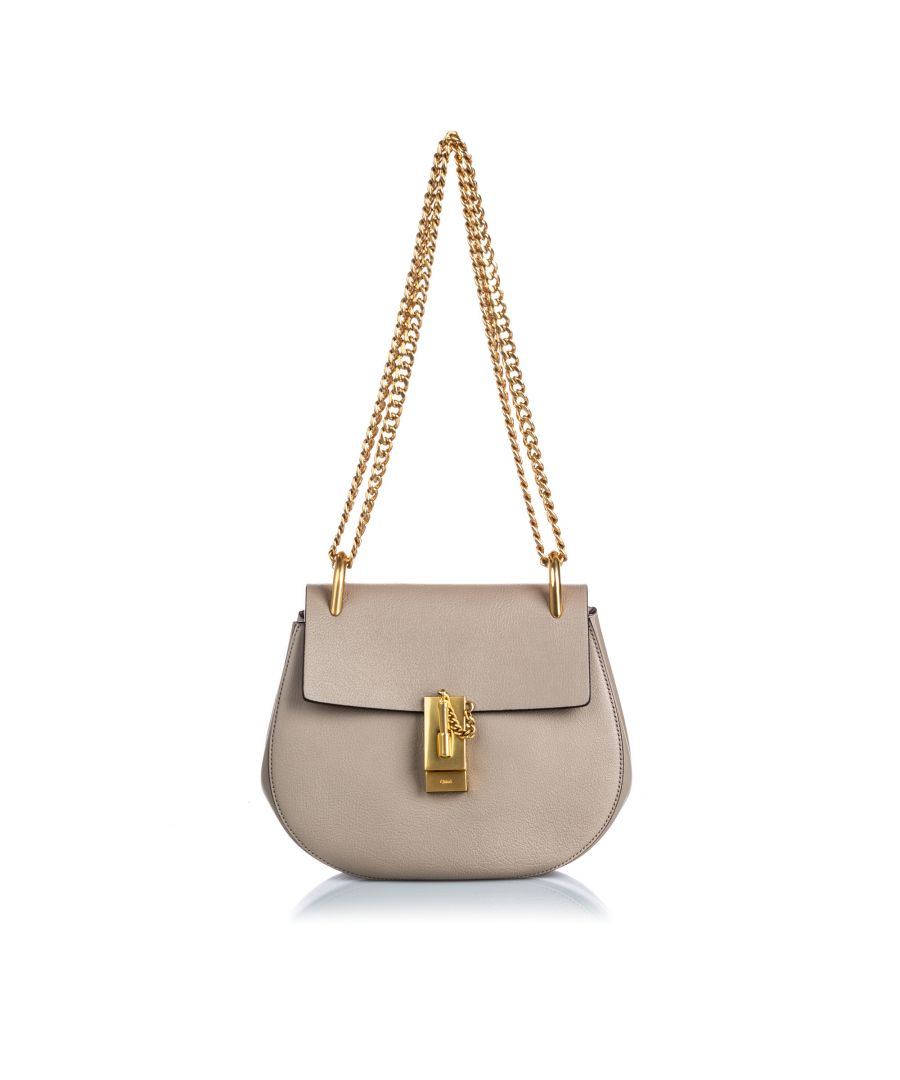 Image for Vintage Chloe Leather Drew Crossbody Bag Gray
