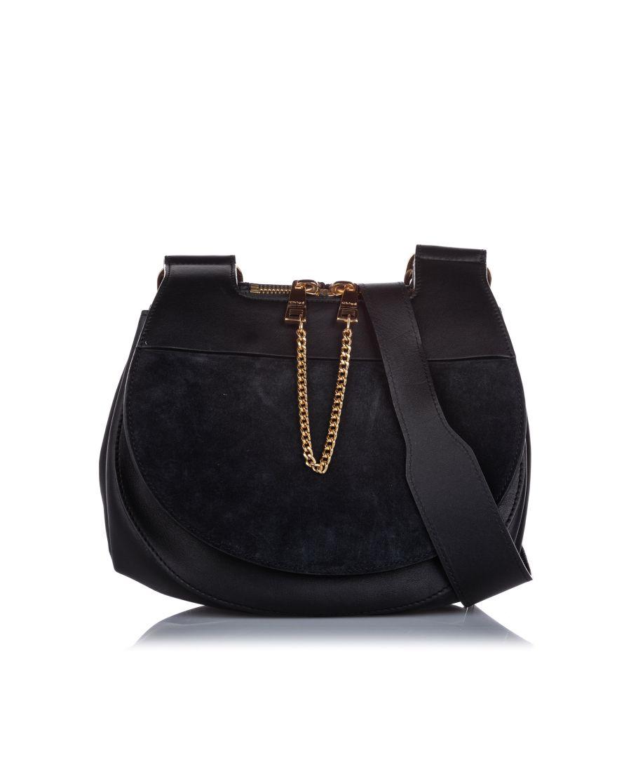Image for Chloe Suede Drew Saddle Bag Black