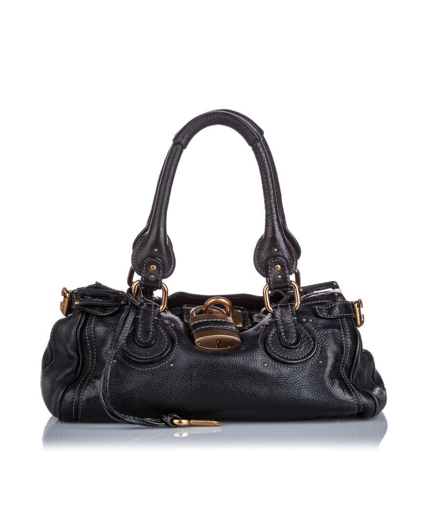 Image for Vintage Chloe Leather Paddington Handbag Black