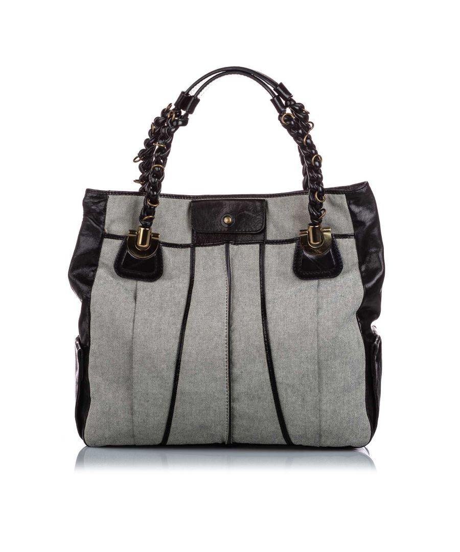 Image for Vintage Chloe Canvas Heloise Shoulder Bag Gray