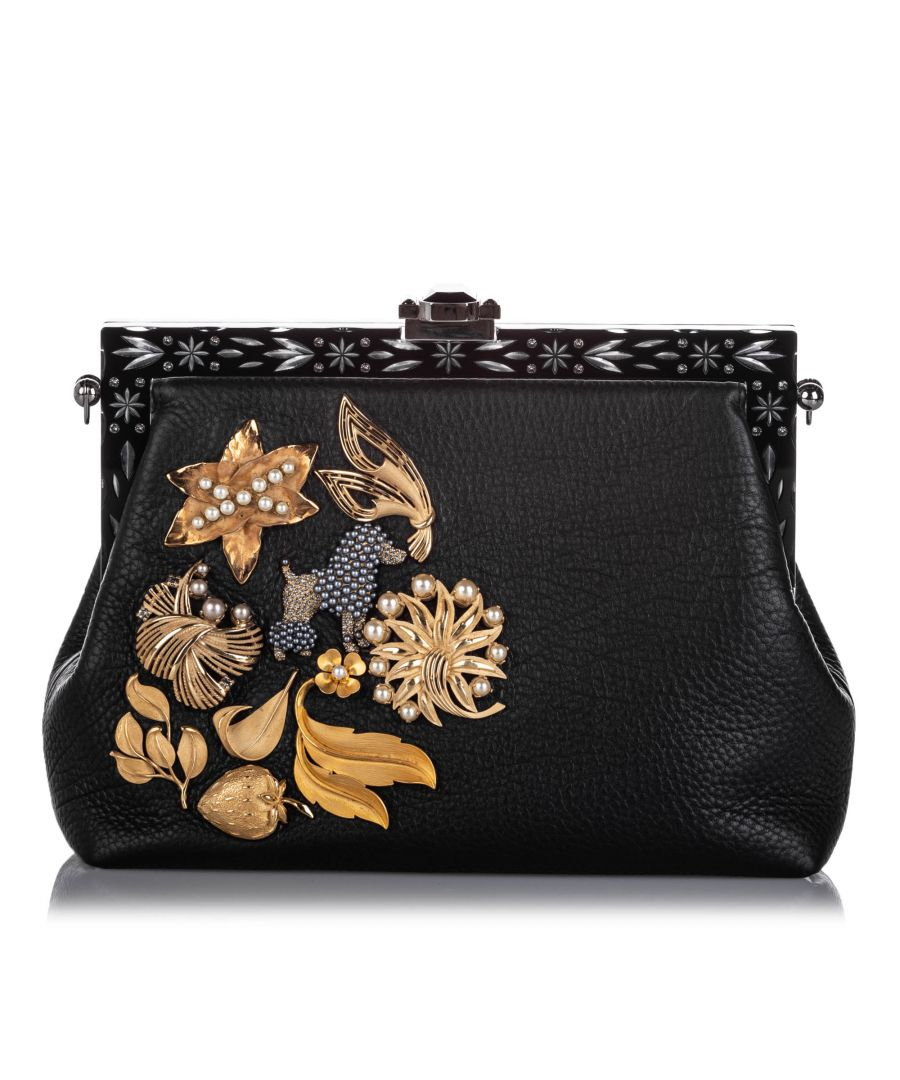Image for Vintage Dolce&Gabbana Embellished Leather Vanda Clutch Bag Black