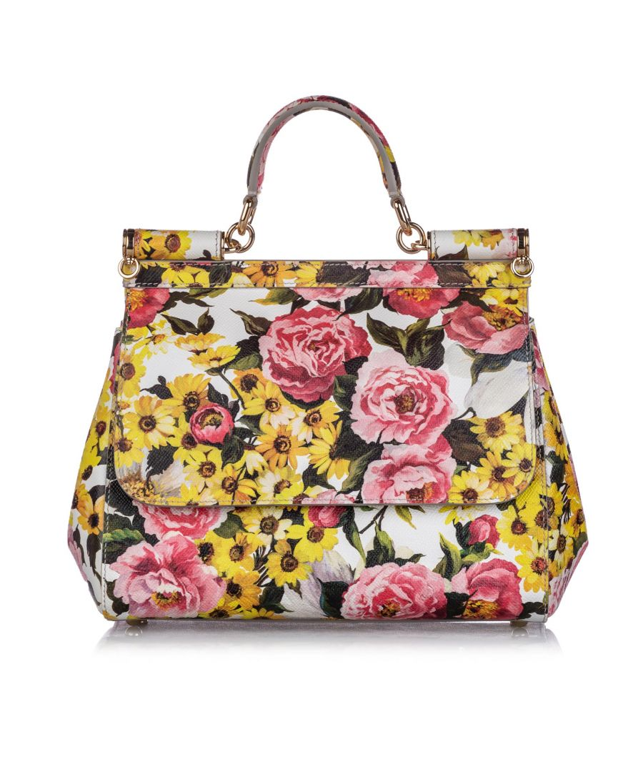 Image for Vintage Dolce&Gabbana Miss Sicily Floral Leather Satchel White