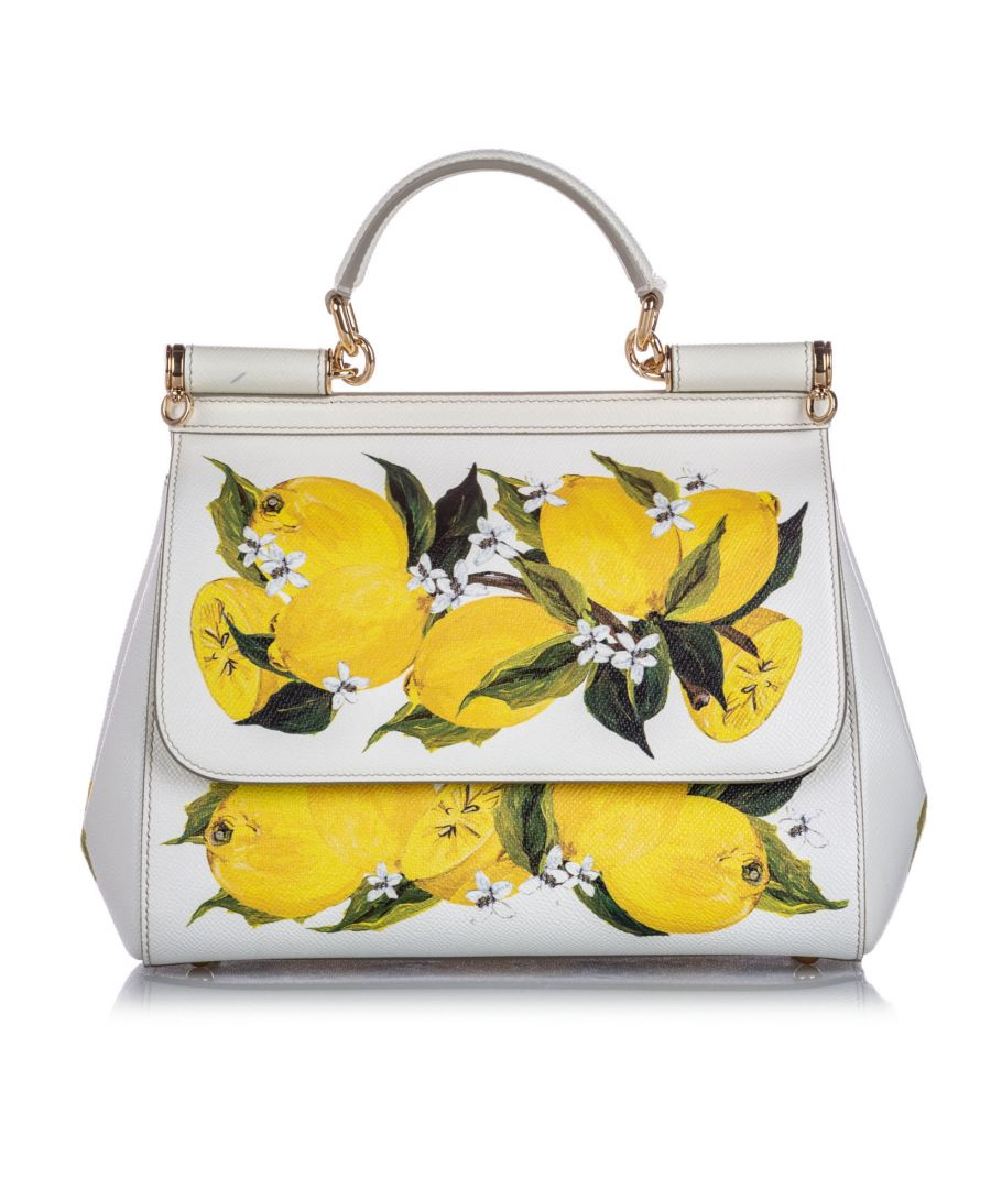 Image for Vintage Dolce&Gabbana Miss Sicily Lemon Leather Satchel White