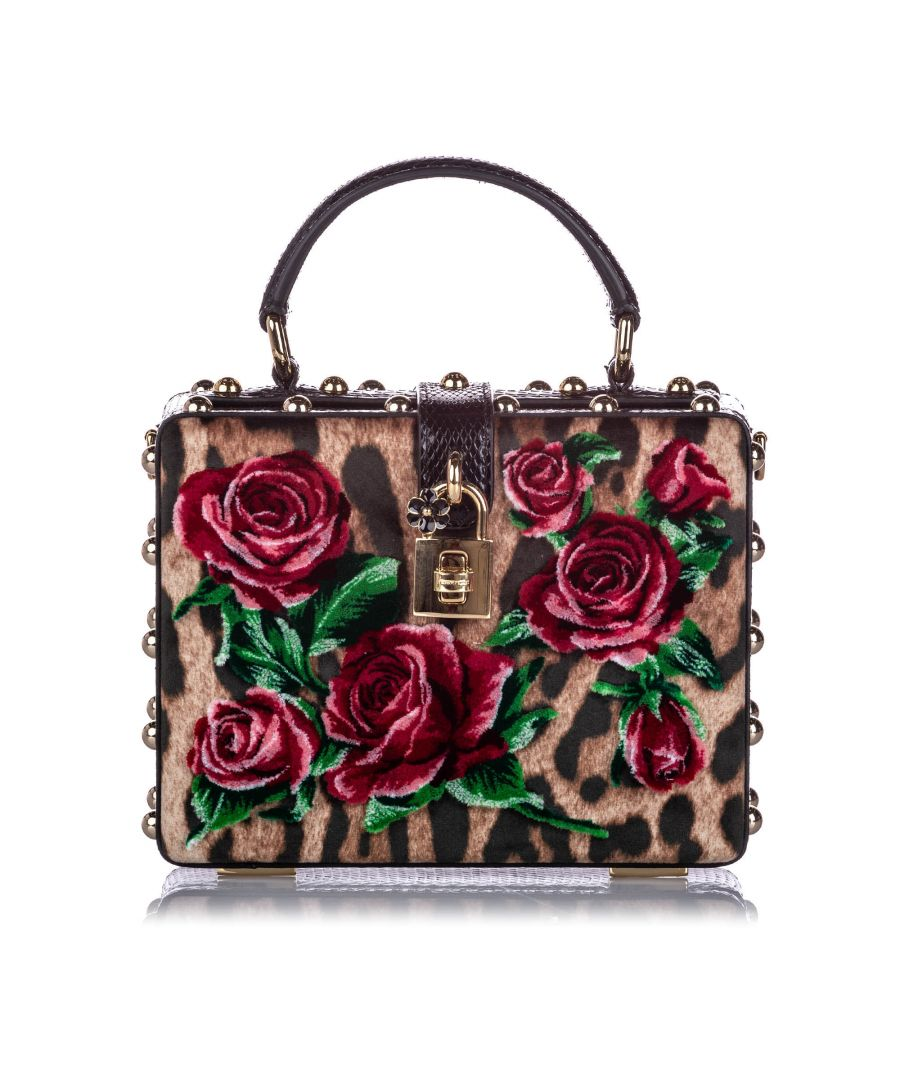 Image for Vintage Dolce&Gabbana Rose Box Velvet Satchel Multi
