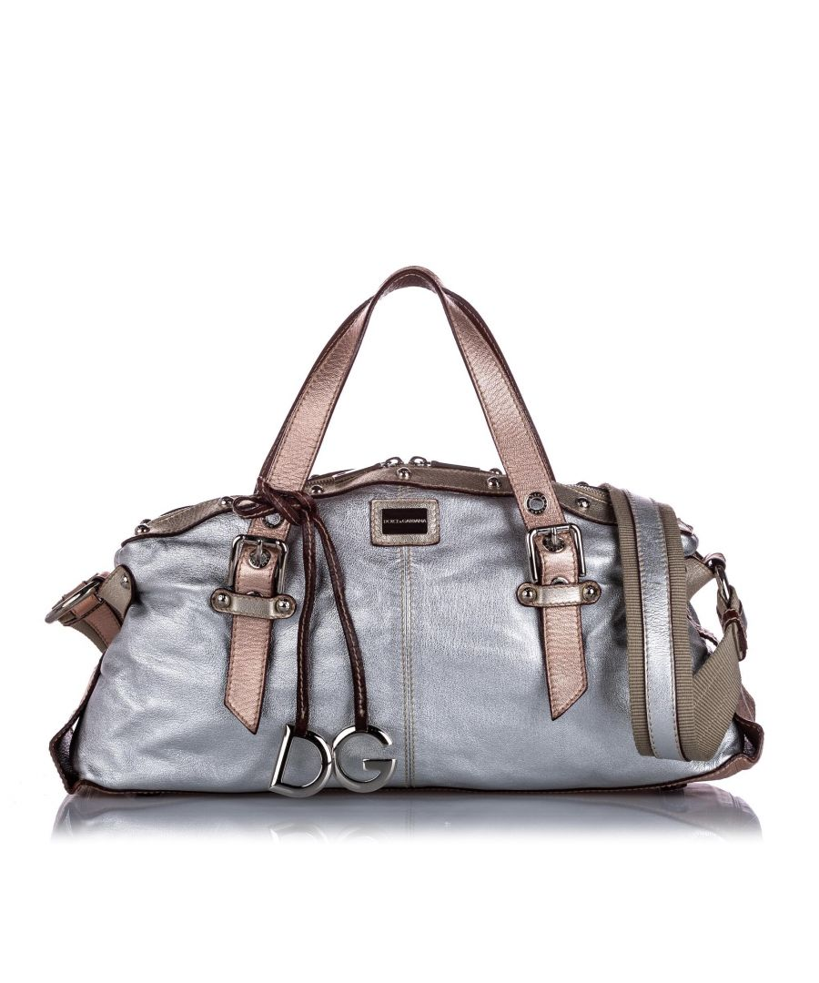 Image for Vintage Dolce&Gabbana Metallic Leather Satchel Silver