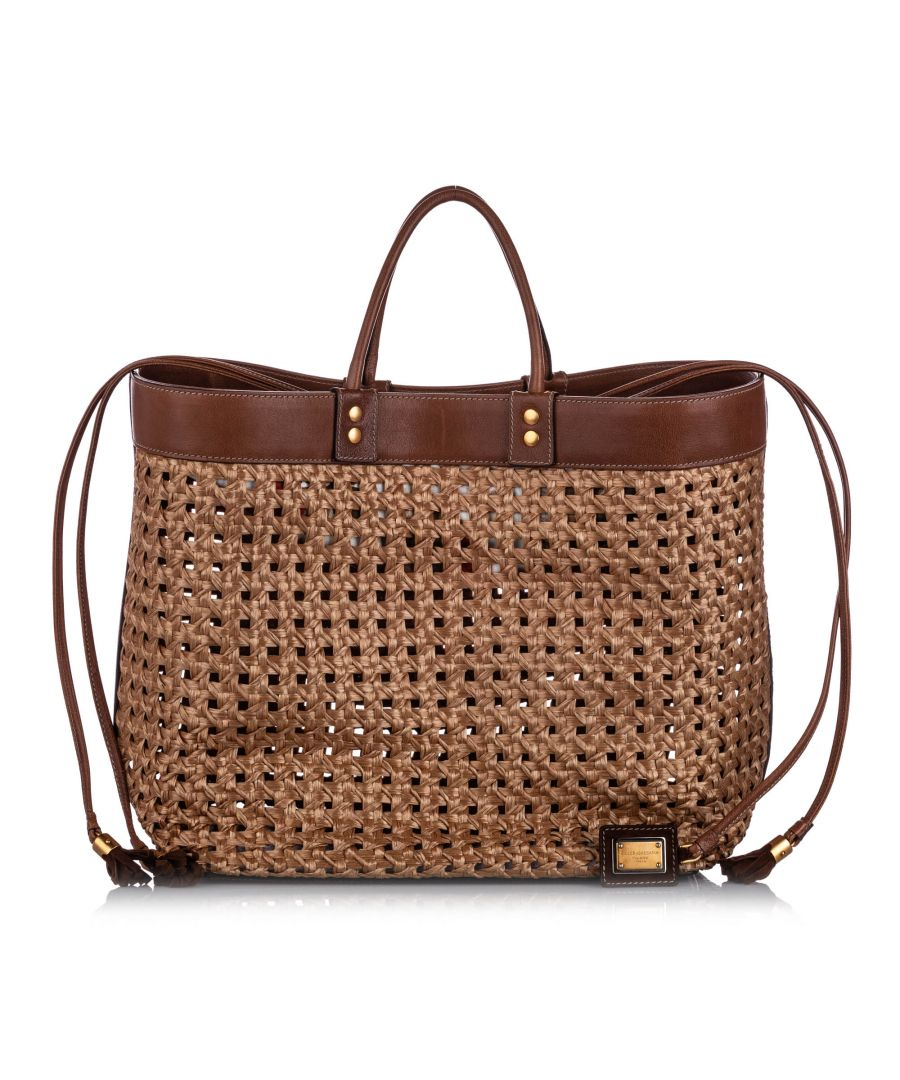 Image for Vintage Dolce&Gabbana Raffia Tote Bag Brown
