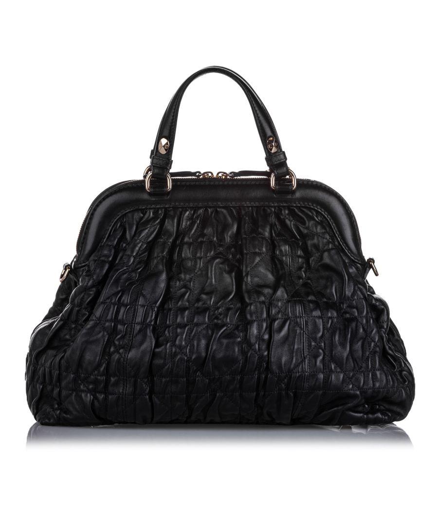 Image for Vintage Dior Cannage Leather Satchel Black