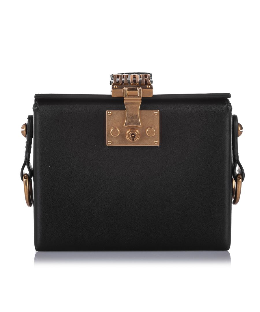 Image for Vintage Dior Small Dioraddict Lockbox Satchel Black