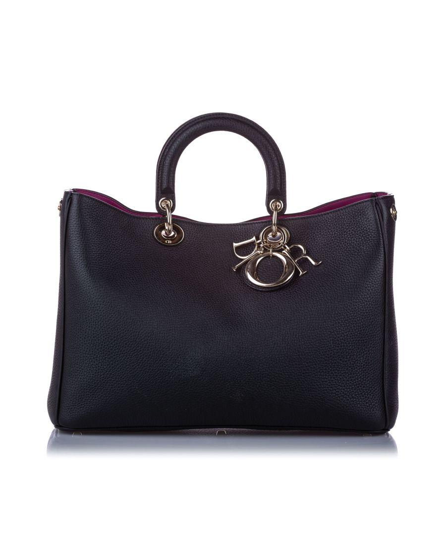 Image for Vintage Dior Large Diorissimo Leather Satchel Black