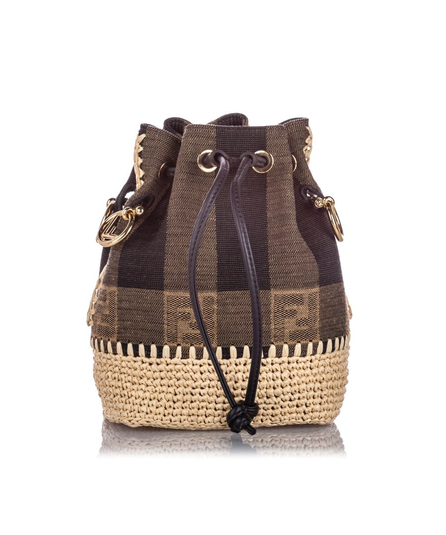 Image for Vintage Fendi Mini Pequin Mon Tresor Canvas Bucket Bag Brown