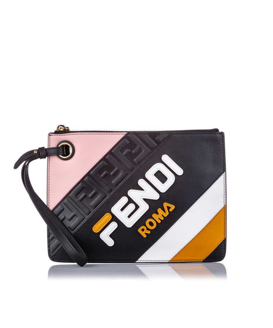 Image for Vintage Fendi Fendi x Fila Leather Logo Clutch Black