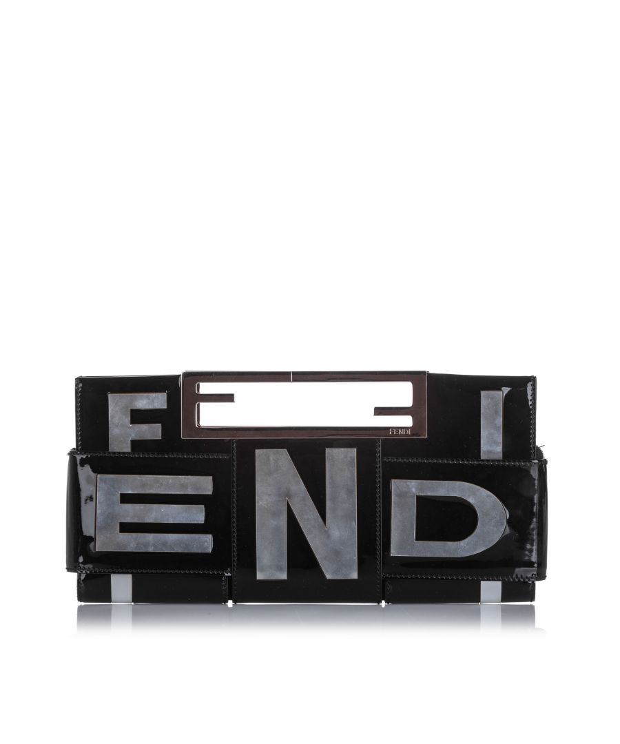 Image for Vintage Fendi Crossword Patent Leather Clutch Bag Black