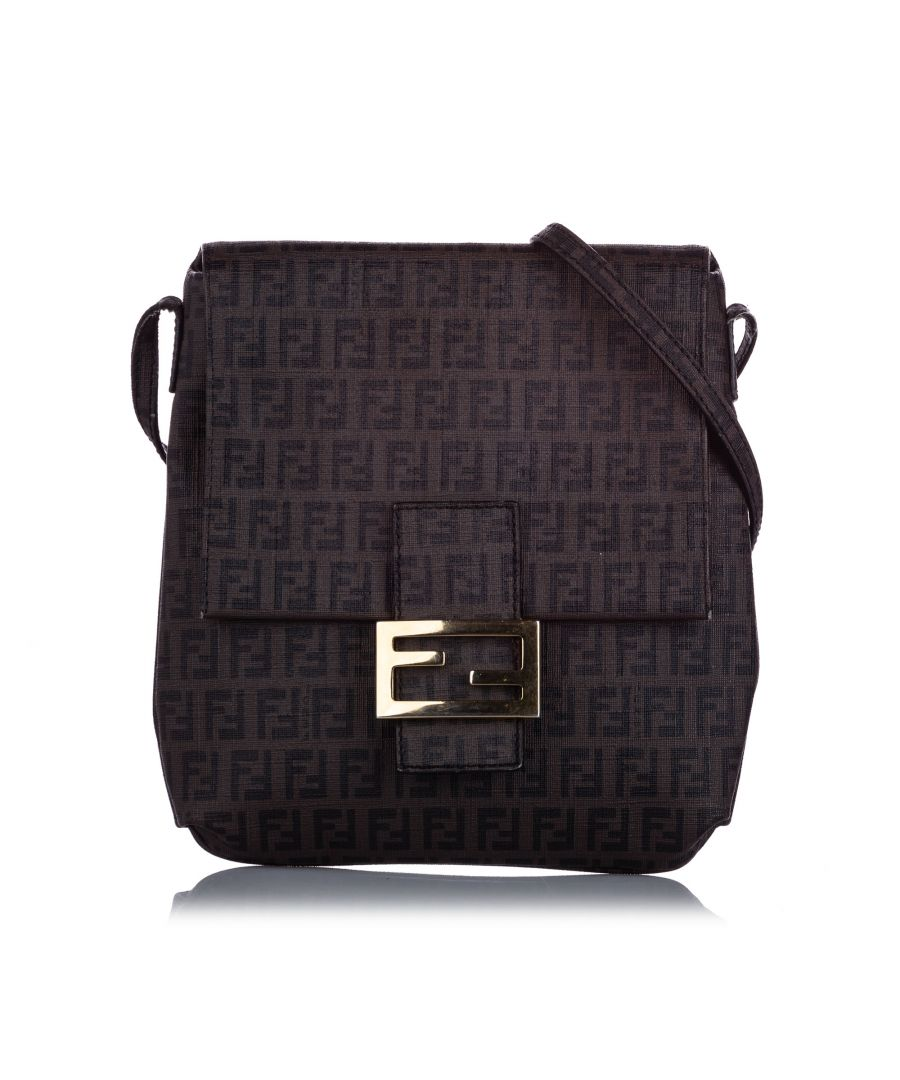 Image for Vintage Fendi Zucchino Canvas Crossbody Bag Brown