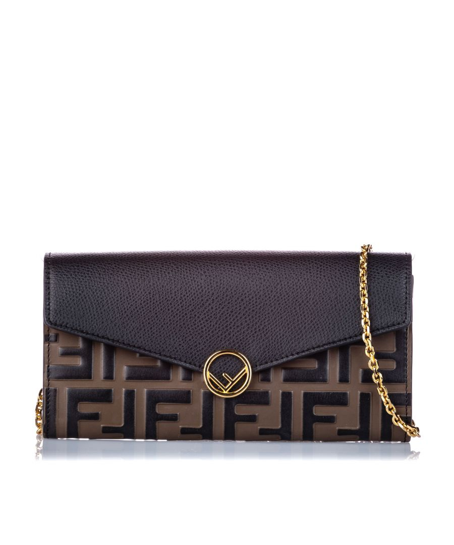 Image for Vintage Fendi Zucca Leather Wallet on Chain Black