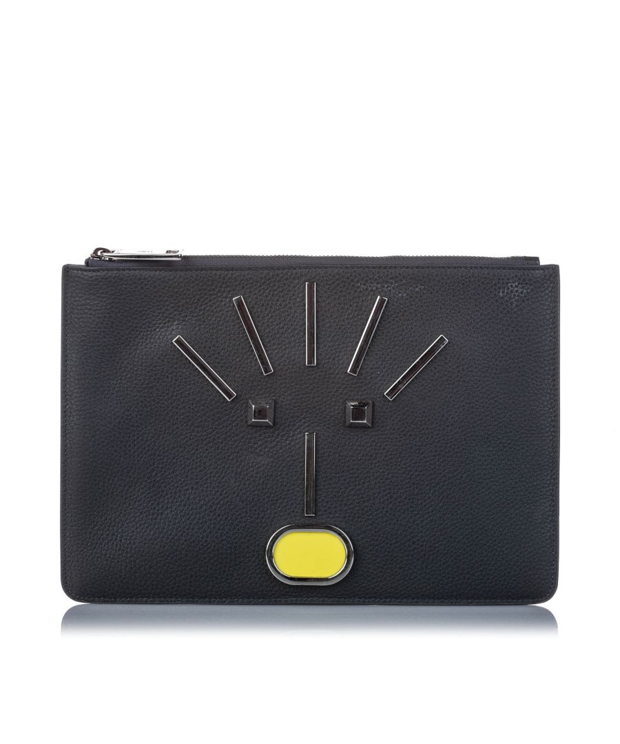 Image for Vintage Fendi Leather Monster Zip Pouch Black