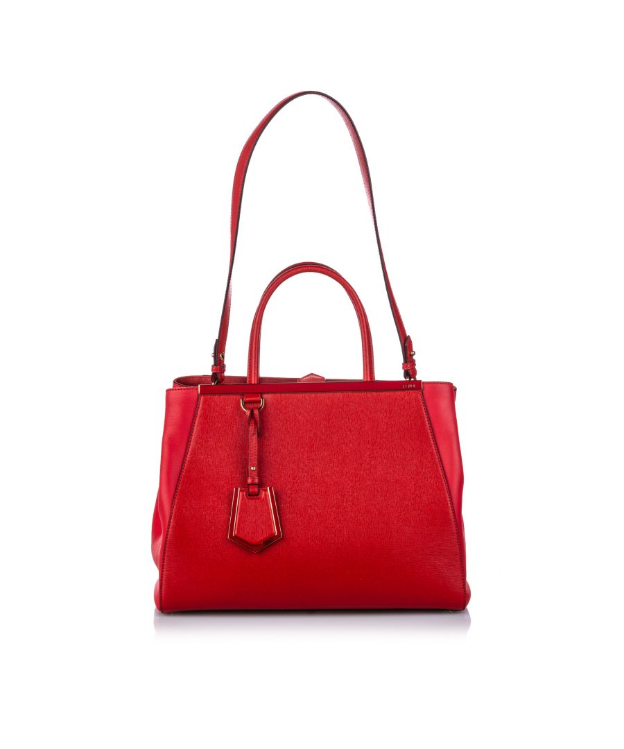 Image for Vintage Fendi Medium Leather 2Jours Satchel Red