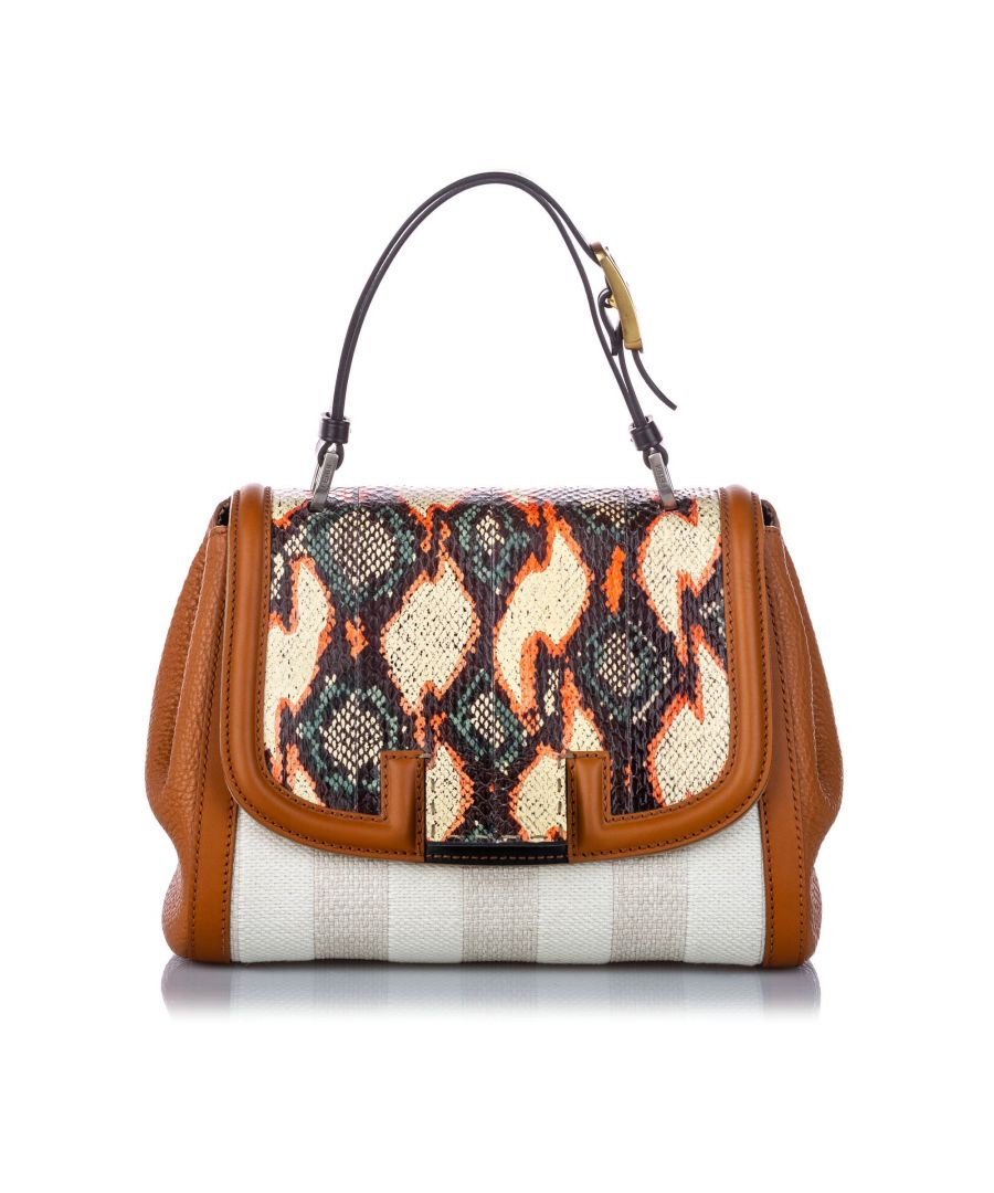 Image for Vintage Fendi Python Trim Canvas Silvana Satchel White