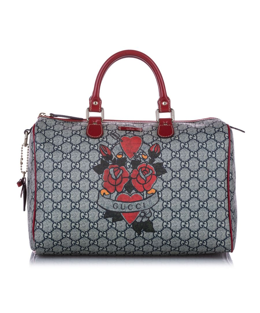 Image for Vintage Gucci GG Supreme Tattoo Heart Joy Boston Bag Gray