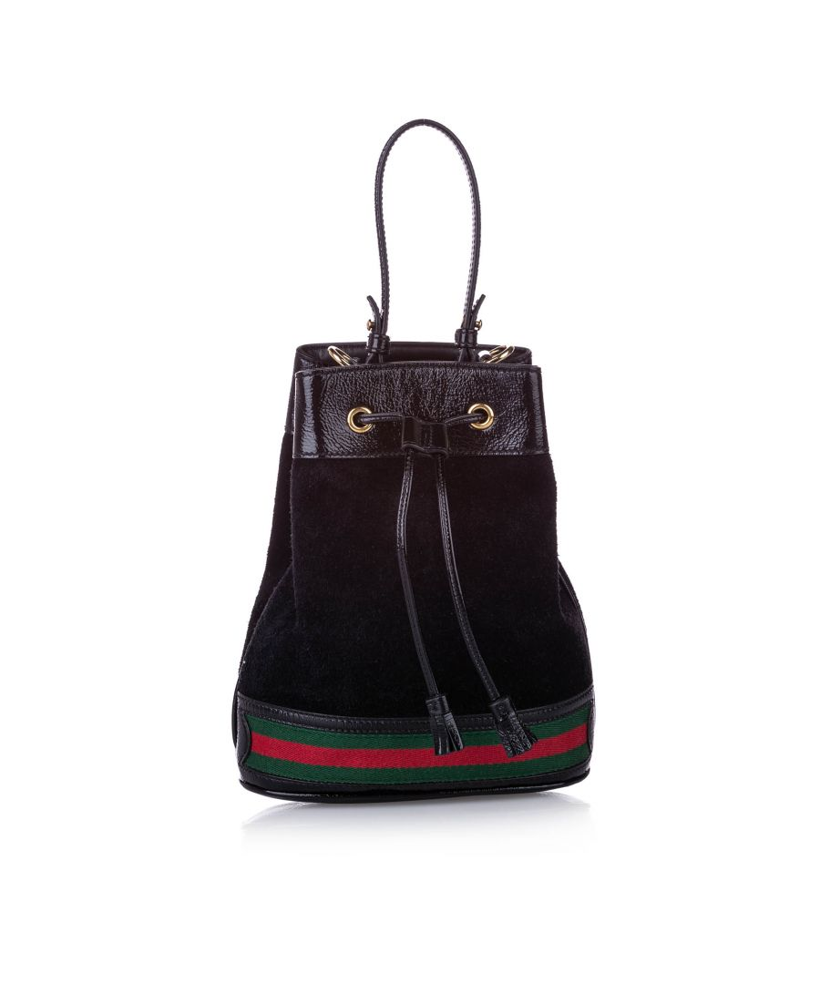 Image for Vintage Gucci Small Ophidia Suede Bucket Bag Black