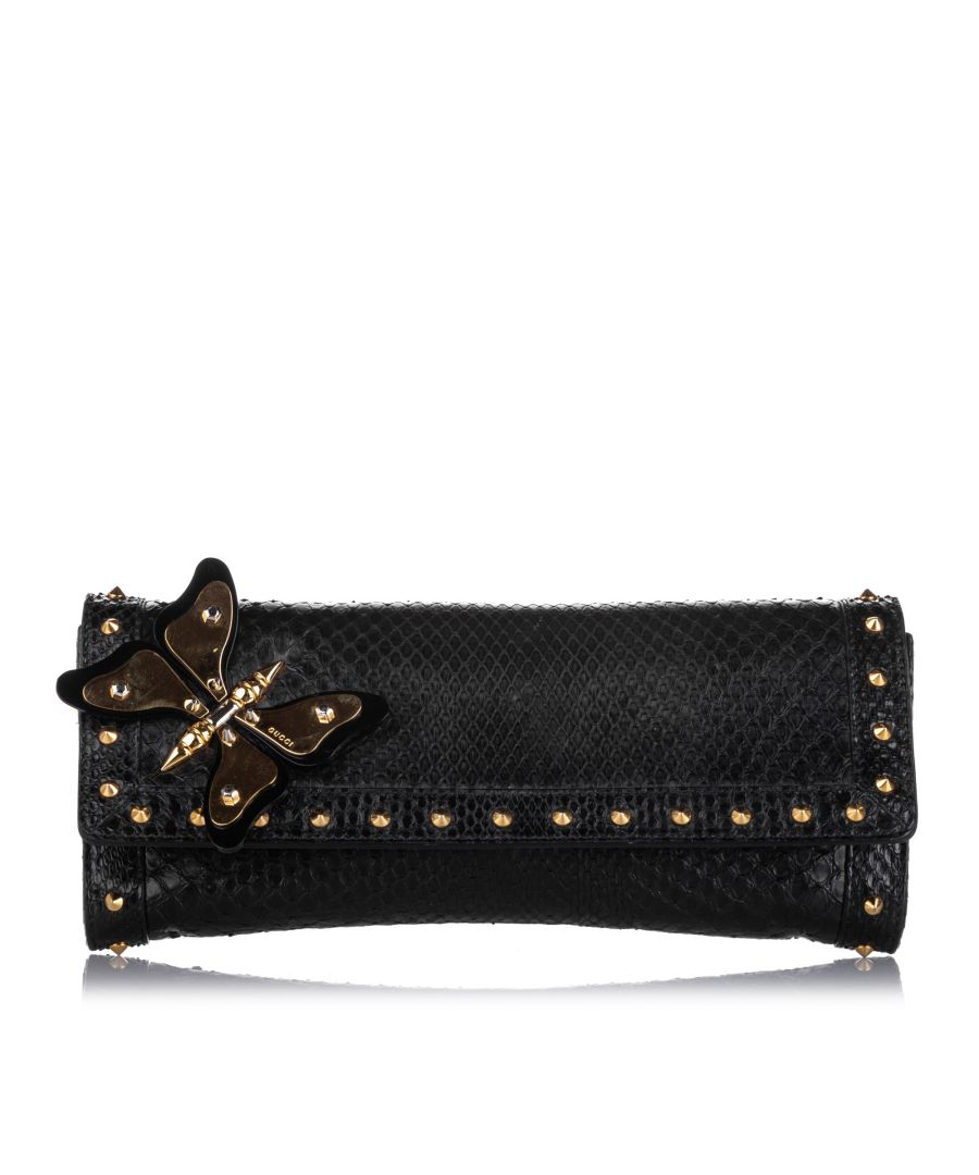 Image for Vintage Gucci Butterfly Broadway Snake Skin Clutch Bag Black