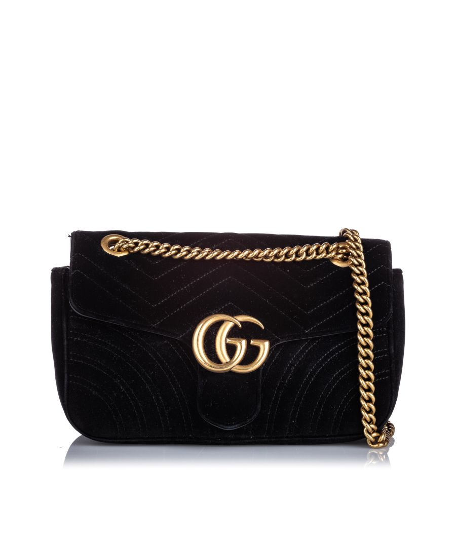 Image for Vintage Gucci Small GG Marmont Velvet Crossbody Bag Black
