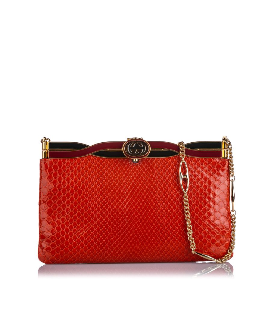 Image for Gucci Broadway Snakeskin Evening Bag Red
