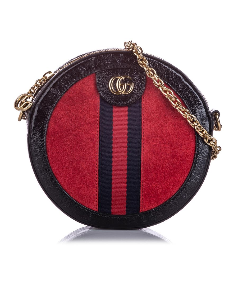 Image for Vintage Gucci Mini Round Ophidia Suede Crossbody Bag Red