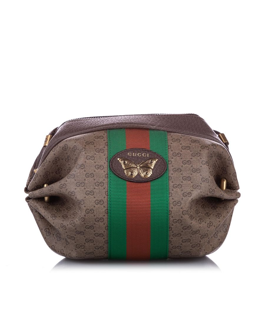 Image for Vintage Gucci GG Supreme Mini Web Butterfly Crossbody Bag Brown