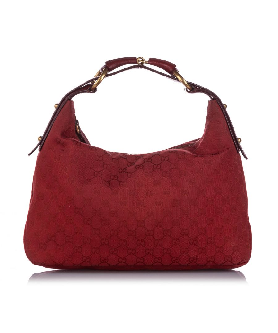 Image for Vintage Gucci GG Canvas Horsebit Hobo Bag Red