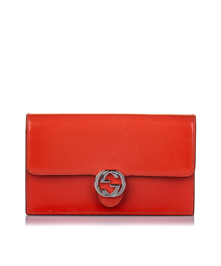 Image for Vintage Gucci GG Icon Patent Leather Wallet on Strap Orange
