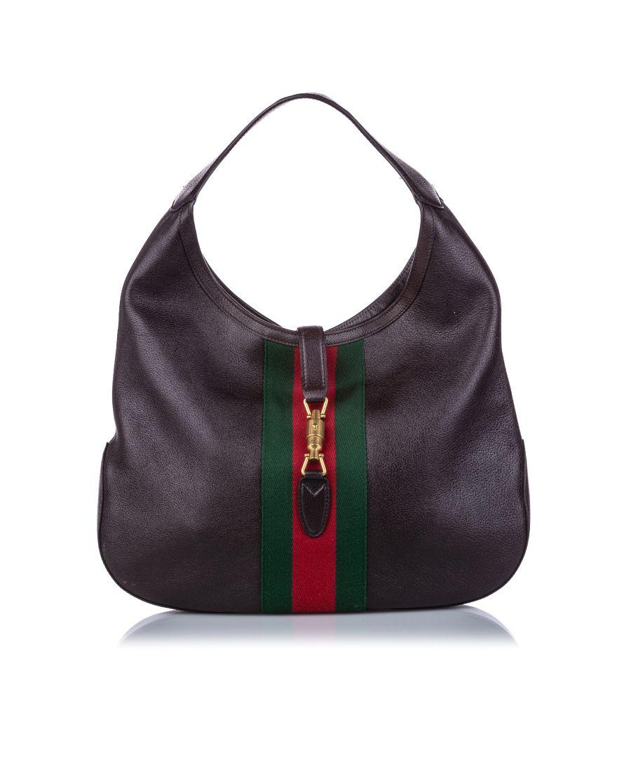 Image for Vintage Gucci Web Leather Soft Jackie Shoulder Bag Black