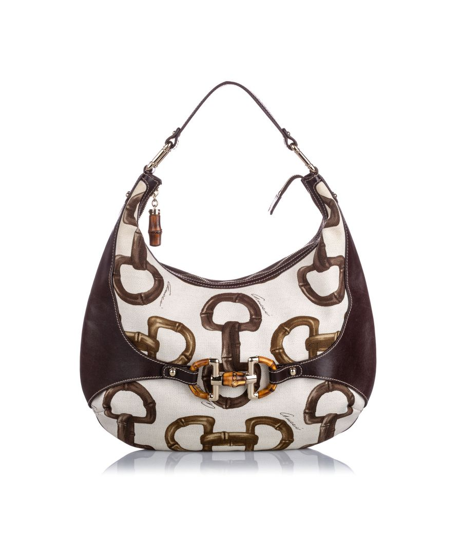 Image for Vintage Gucci Bamboo Horsebit Amalfi Hobo White