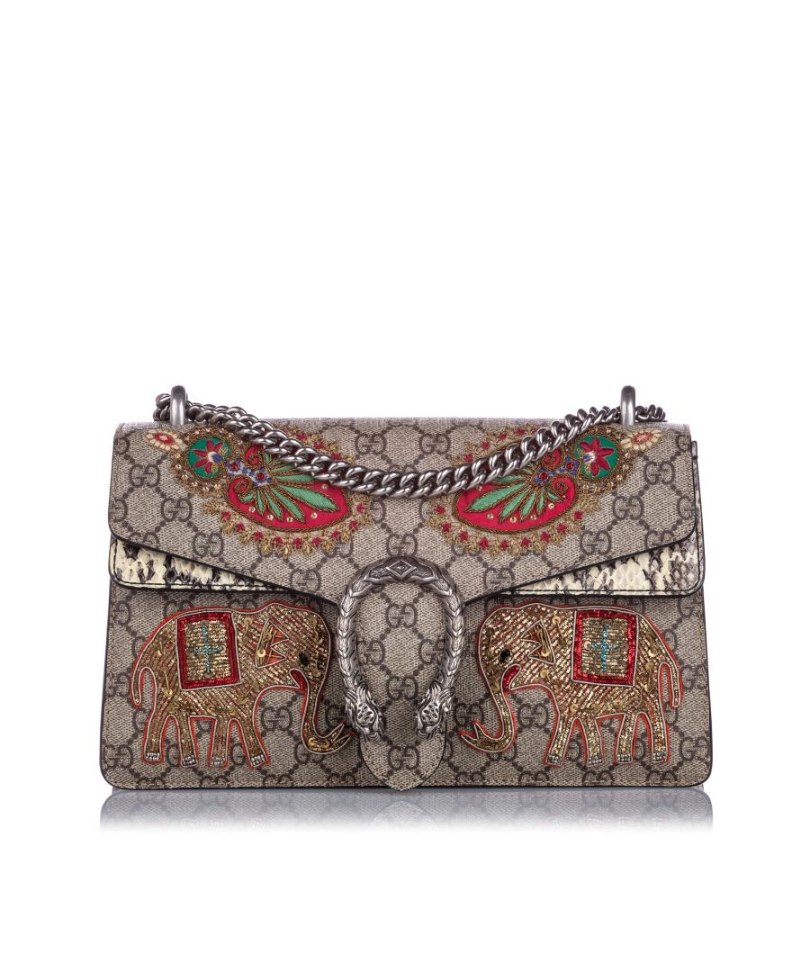 Image for Gucci GG Supreme Elephant Dionysus Shoulder Bag Brown