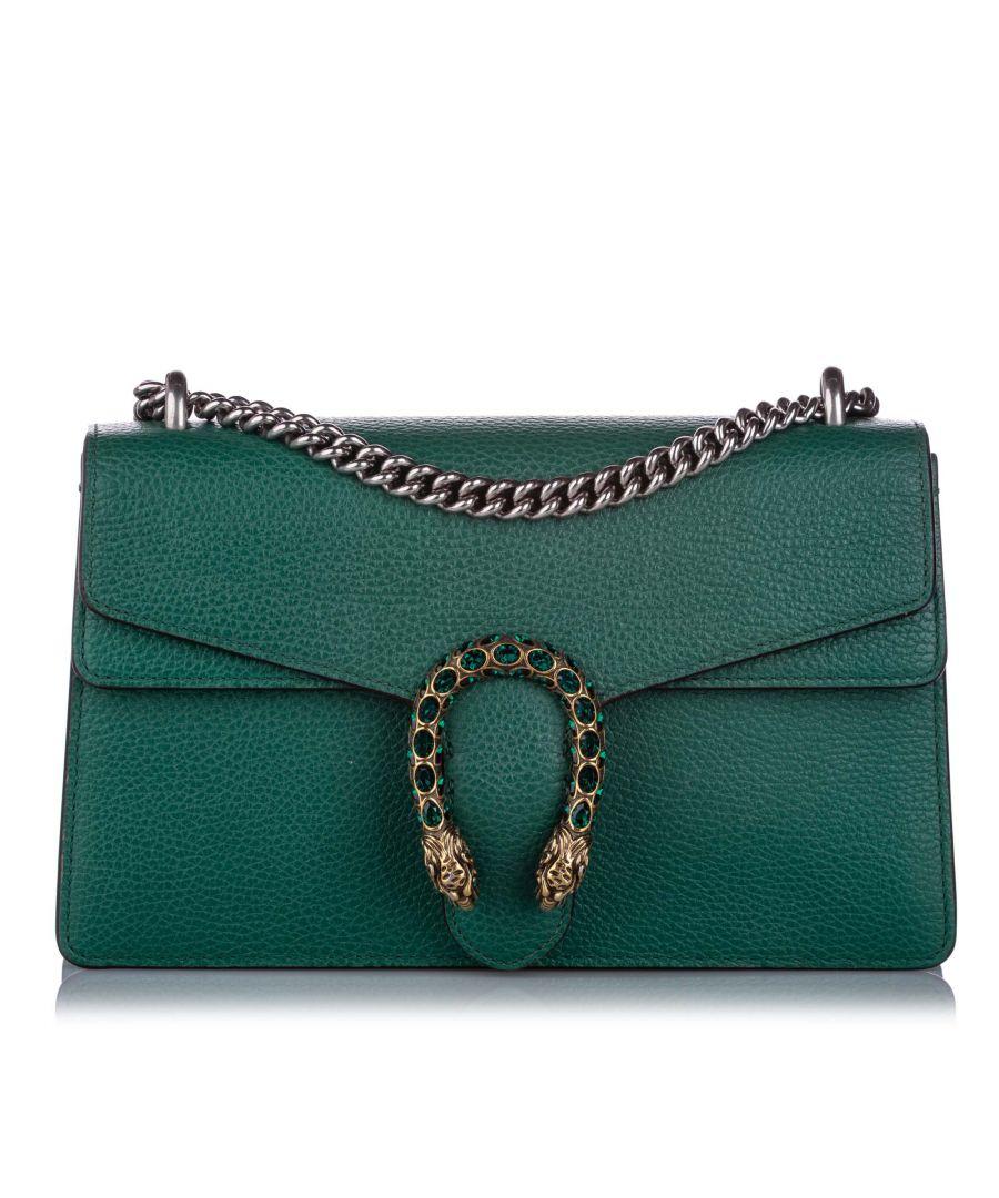Image for Vintage Gucci Small Dionysus Leather Shoulder Bag Green