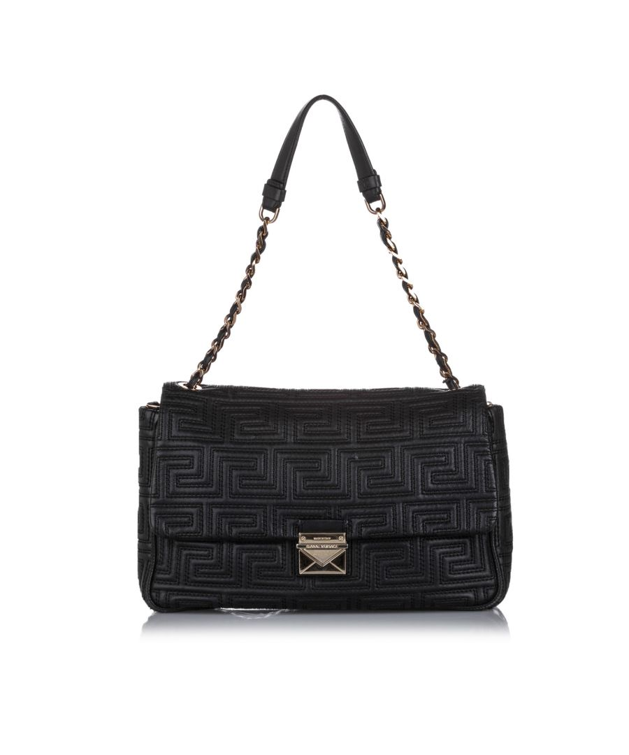 Image for Vintage Versace Quilted Leather Shoulder Bag Black