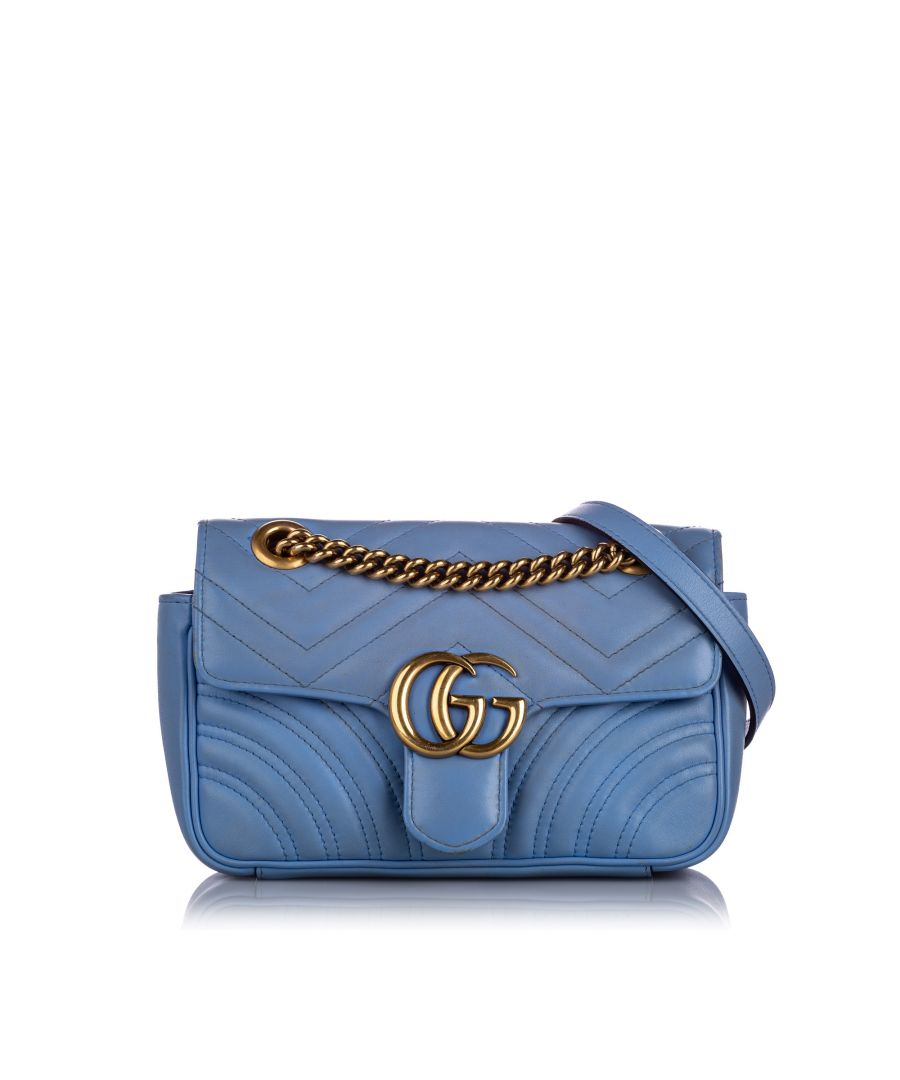 Image for Vintage Gucci Mini GG Marmont Leather Crossbody Bag Blue