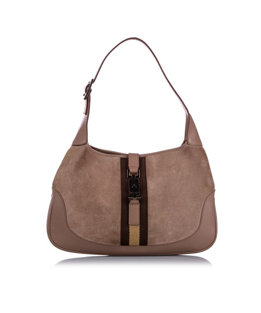 Image for Vintage Gucci Web Jackie Suede Shoulder Bag Brown