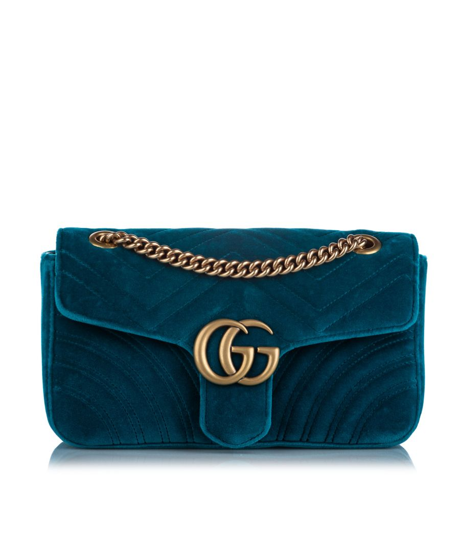 Image for Vintage Gucci Small GG Marmont Velvet Shoulder Bag Green