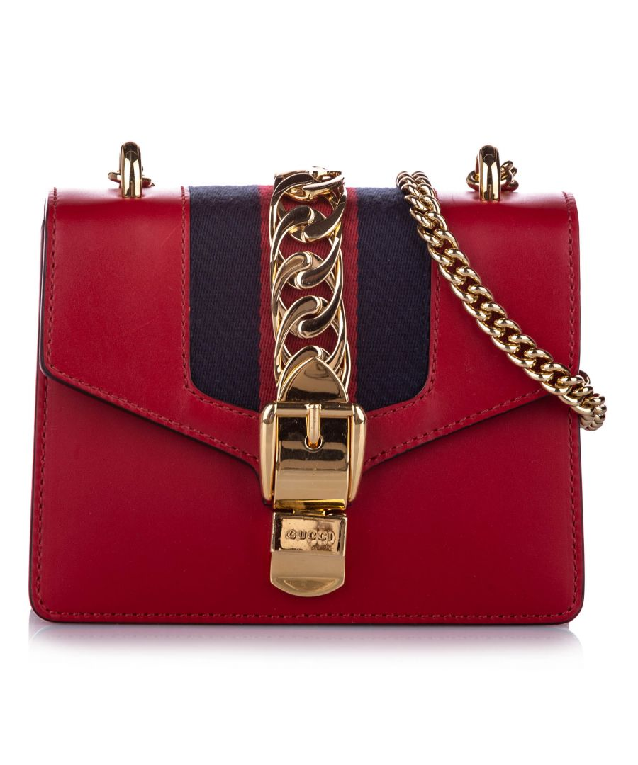 Image for Vintage Gucci Mini Sylvie Chain Shoulder Bag Red