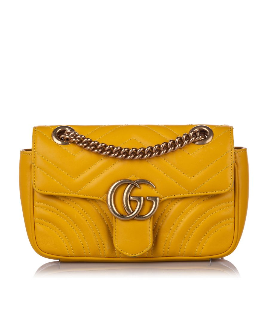 Image for Vintage Gucci Mini GG Marmont Leather Crossbody Bag Yellow