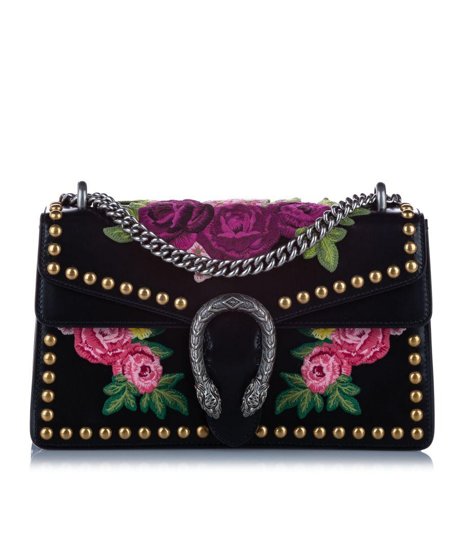 Image for Vintage Gucci Small Dionysus Studded Leather Shoulder Bag Black