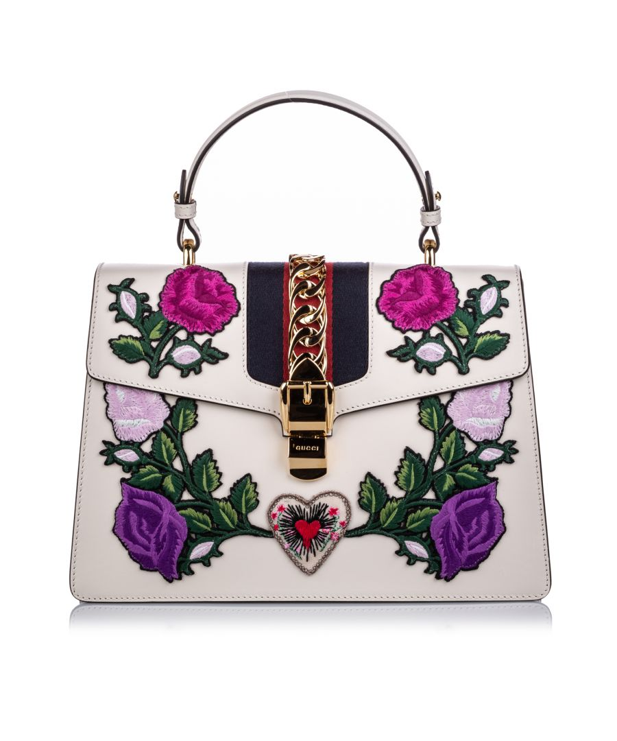 Image for Vintage Gucci Medium Embroidered Leather Sylvie Satchel White