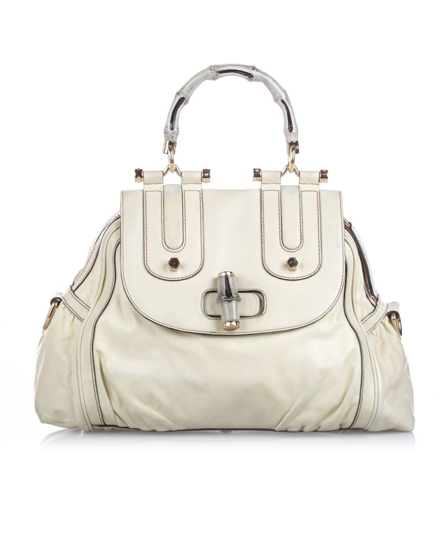 Image for Vintage Gucci Bamboo Dialux Pop Satchel White