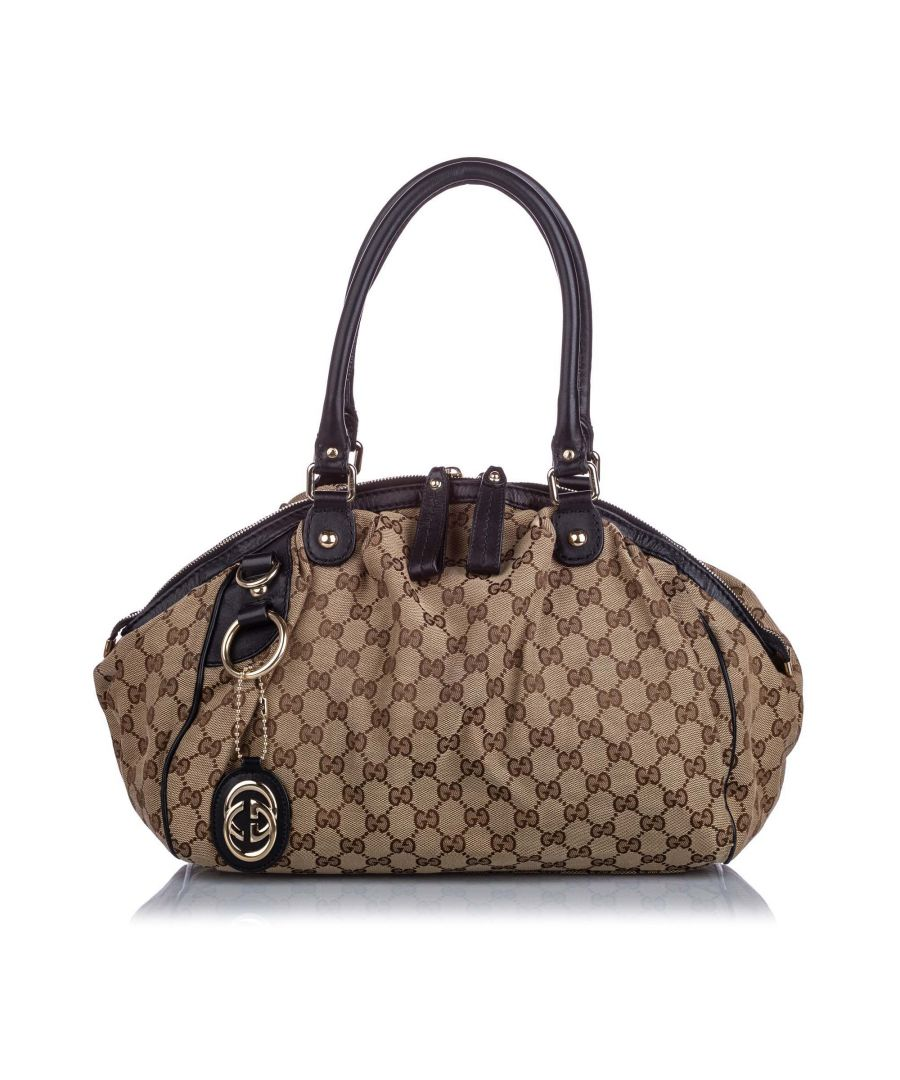 Image for Vintage Gucci GG Canvas Sukey Satchel Brown