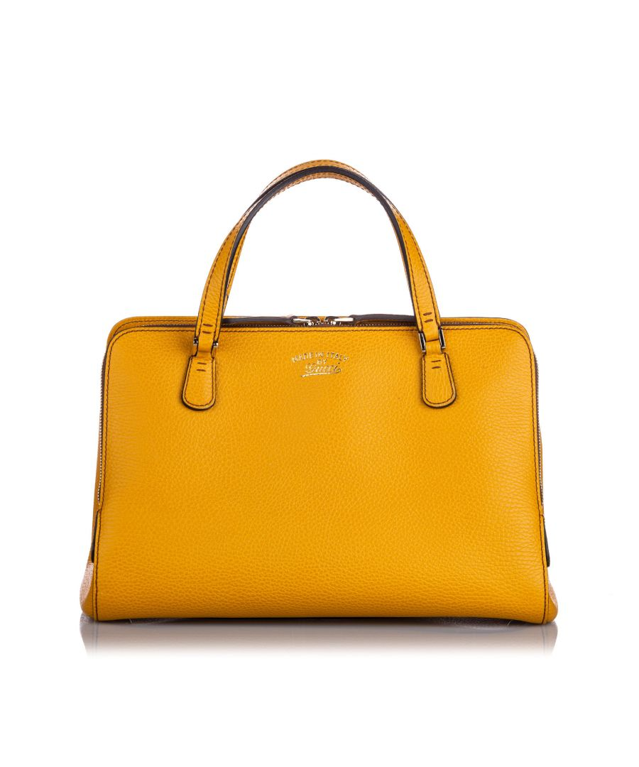 Image for Vintage Gucci Swing Top Handle Leather Satchel Yellow