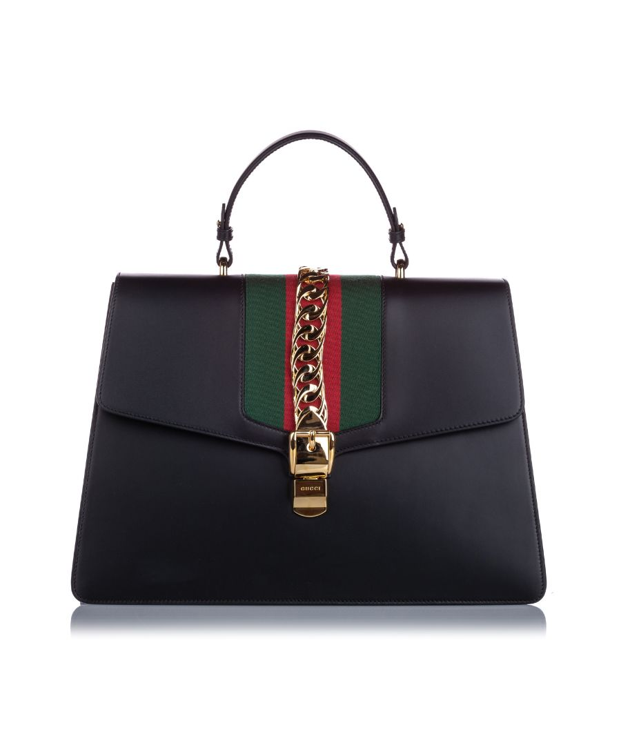 Image for Gucci Maxi Sylvie Top Handle Satchel Black