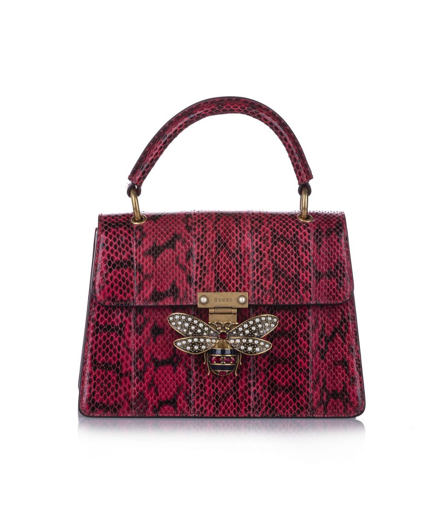 Image for Vintage Gucci Queen Margaret Python Satchel Red