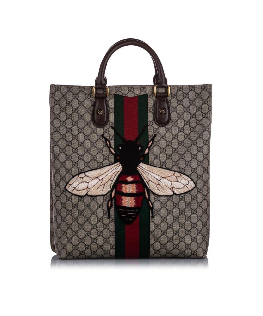 Image for Vintage Gucci GG Supreme Web Animalier Satchel Brown