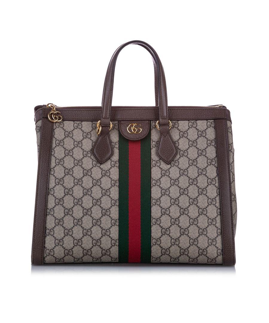 Image for Vintage Gucci Medium GG Supreme Ophidia Satchel Brown