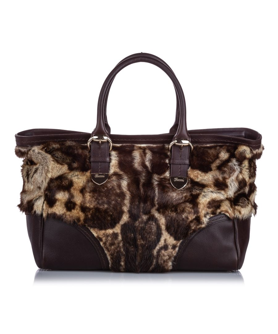 Image for Gucci Fur Signoria Tote Brown